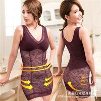 【伊黛爾】360丹美麗窈窕輕薄蕾絲彈力網布塑身裙 M-XXL(葡萄紫)