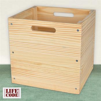 【LIFECODE】原木風黃松木收納箱/工具箱/格架專用配套箱-行動