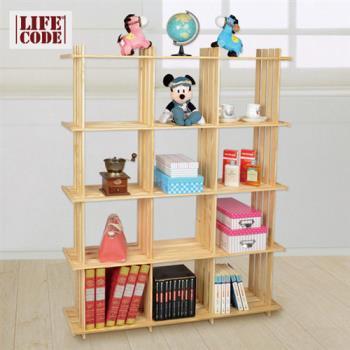 【LIFECODE】極簡風黃松木正十二格架/實木置物架/書架/花架