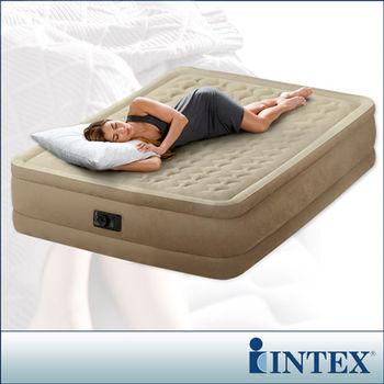 【INTEX】超厚絨豪華雙人加大充氣床-寬152cm (內建電動幫浦)fiber-tech新型 (64457)-行動