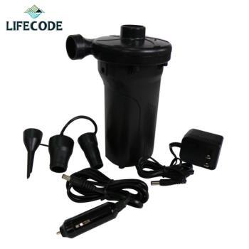 【LIFECODE】三合一高級電動充氣幫浦(內建長效蓄電池+家用110V+車用12V)-行動