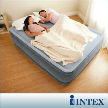 【INTEX】豪華型橫條內建電動幫浦充氣床-雙人加大-寬152cm (67769)-行動