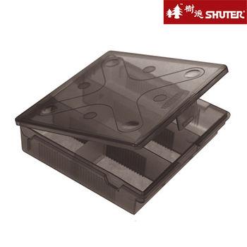 【樹德SHUTER】風格小文具方收納盒-附隔片 (4入組) -黑透