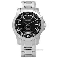SEIKO 精工 / 6A32-00X0B.SNQ147J1 / Premier典藏品味羅馬萬年曆不鏽鋼腕錶 黑色 41mm