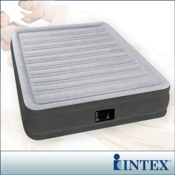 【INTEX】豪華型橫條內建電動幫浦充氣床-雙人-寬137cm (67767)-行動