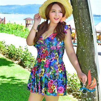 SANQI三奇 加大尺碼泳衣 熱帶花朵連身泳裝(彩3L~5L) -SQD022