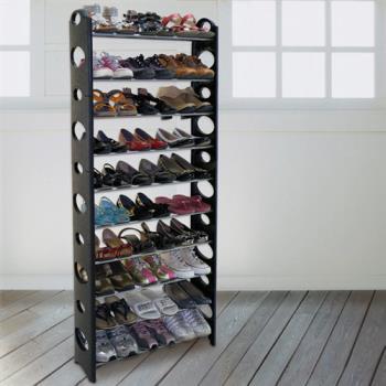 【LIFECODE】可調式十層鞋架/可放30雙鞋 (黑色)