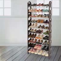 【LIFECODE】可調式十層鞋架/可放30雙鞋 (咖啡色)-行動