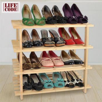 【LIFECODE】極簡風-免螺絲黃松木四層鞋架/組合鞋架-行動