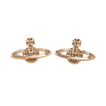 【Vivienne Westwood】星球優雅晶鑽耳環(玫瑰金色)