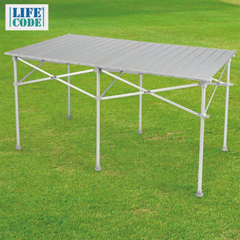 【LIFECODE】長型鋁合金蛋捲桌/折疊桌124x70cm (附收納袋)-行動