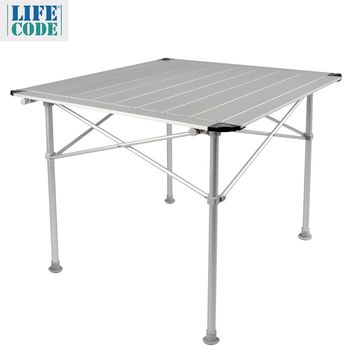 【LIFECODE】鋁合金蛋捲桌/折疊桌-加大款80x80cm-附收納袋-行動