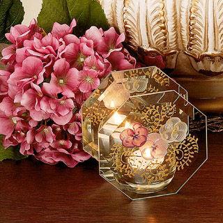 【Madiggan貝斯麗】鬱金香系列手工彩繪玻璃八角燭台(湛藍及紫紅任選)