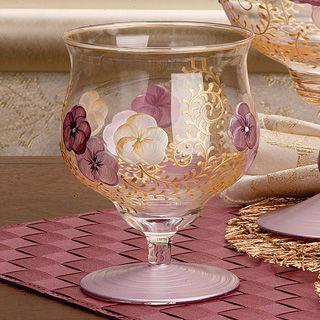 【Madiggan貝斯麗】鬱金香系列手工彩繪寬口短腳燭杯(紫藍.紫紅可選)