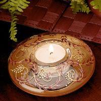 【Madiggan貝斯麗】托斯卡尼彩繪蠟燭飛碟碗-2入(金綠)