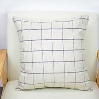 【協貿】簡約復古懷舊小清新黑格子棉麻沙發方形抱枕含芯