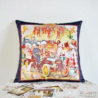 【協貿】簡約現代創意復古民族風絨布印花沙發方形抱枕含芯
