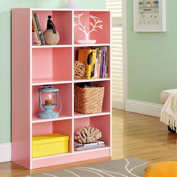 【咱的厝】DIY輕鬆收納八格櫃/書櫃/置物櫃/收納櫃(粉色)
