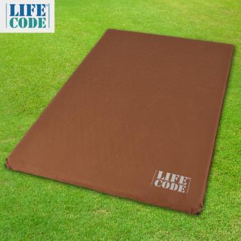 LIFECODE《豪華麂皮》雙人自動充氣睡墊/車中床-厚7cm-咖啡色-行動