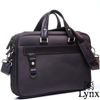 Lynx - 山貓經典極簡風格手提真皮側背公事包-共2色