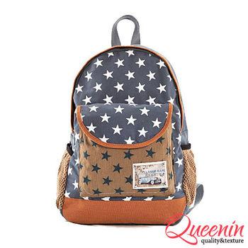 DF Queenin日韓 - 時尚紐約星星撞色休閒後背包-共2色