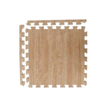 【新生活家】耐磨櫸木紋地墊-淺色45x45x1.2cm-12入(附邊條)