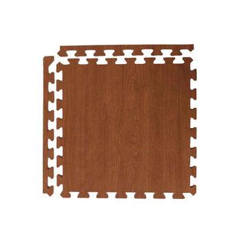 新生活家 耐磨櫸木紋地墊-深色45x45x1.2cm12入(附邊條)