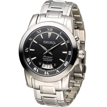 精工 SEIKO Premier 羅馬萬年曆紳士錶 6A32-00X0B SNQ147J1 黑