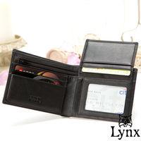Lynx - 山貓經典品牌風真皮款7卡1照上下翻短夾