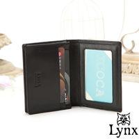 Lynx - 山貓經典品牌風真皮款2卡1照名片夾