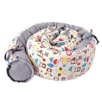 以色列mezoome有機棉多用途蛇圍/床圍/哺乳靠枕 (大象灰)