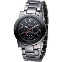 Hanna 巴黎時尚全日曆黑陶瓷腕錶-銀刻