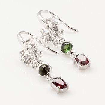 【寶石方塊】花紅柳綠天然紅石榴耳環-925純銀飾