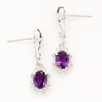 【寶石方塊】美冠一方天然紫水晶耳環-925銀飾