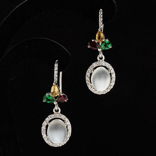 【寶石方塊】佳人才子天然月光石耳環-925純銀飾