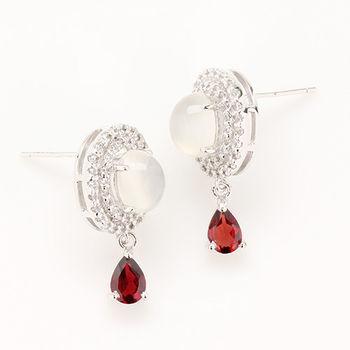 【寶石方塊】閨英闈秀天然月光石耳環-925純銀飾