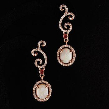 【寶石方塊】豔色耀目天然蛋白石耳環-925純銀飾