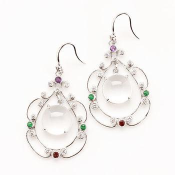 【寶石方塊】山清水秀天然緬甸水沫玉耳環-925銀飾