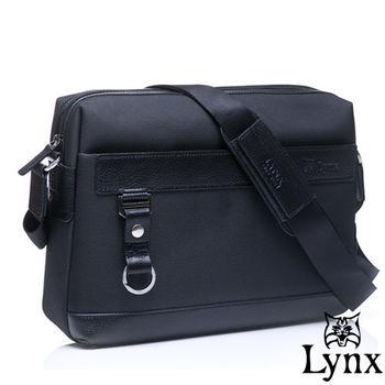 Lynx - 山貓經典極簡風格橫式真皮側背包-大-共2色