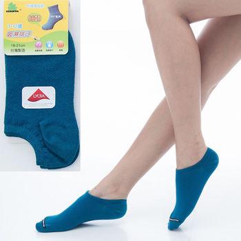 【KEROPPA】可諾帕7~12歲兒童專用吸濕排汗船型襪x土耳其藍3雙(男女適用)C93005
