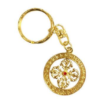 【十相自在】可轉動吊飾鑰匙圈(十字金剛杵)