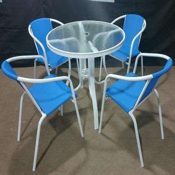 Brother兄弟牌《藍色紗網椅+90cm鋁製玻璃圓桌一桌四椅組》.