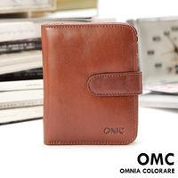 OMC - 時尚精工牛皮原皮扣式短夾