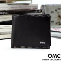 OMC - 柔軟羊皮款真皮5卡1照左右翻短夾