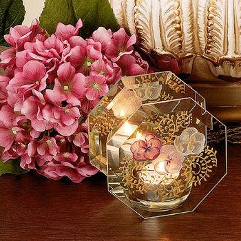 Madiggan貝斯麗 鬱金香系列手工彩繪玻璃八角燭台