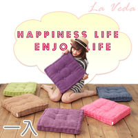 【La Veda】絨布方形胖胖座墊-1入 (隨機出貨不挑款)