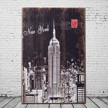 【OPUS LOFT純真年代】40X60仿舊木板畫/無框畫/掛畫擺飾 (A46004-1 美國帝國大廈)