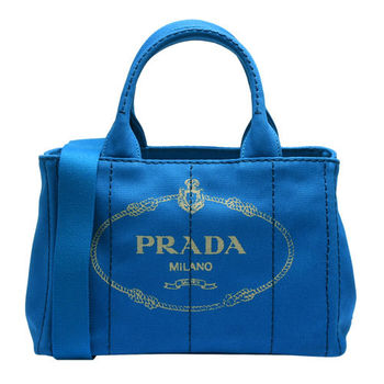 PRADA CANAPA三角LOGO帆布縫線造型手提斜背包(小-水藍)