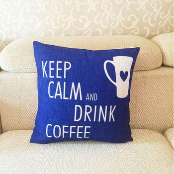 【協貿】簡約加厚亞麻愛心馬克杯沙發方形抱枕含芯