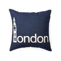 【協貿】城市簡約棉麻復古倫敦藍沙發方形抱枕含芯